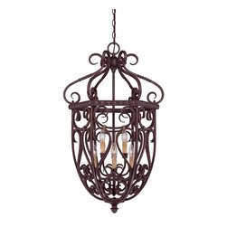 """Savoy House - Bellingham 21"""" 6-Light Cage Foyer - Bellingham is a European inspired design from Savoy House that will complement a wide range of home decor. The Bark and Gold finish is the perfect backdrop for Textured Scavo Glass shades, creating a rich and appealing classic."""