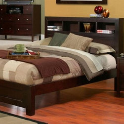 Alpine Furniture - Solana 2-Pc Wood Bedroom Set (Queen) - Choose Size: QueenIncludes bed and nightstand. Chest and media chest not included. Bed with complete set of slats. Bookcase footboard. No box spring required. Nightstand with two drawers. Six months warranty. Made from select solids and veneer. Cappuccino finish. Made in Indonesia. No assembly required. Full bed: 83.25 in. L x 56.25 in. W x 47.25 in. H. Queen bed: 87.5 in. L x 63 in. W x 47.25 in. H. California king bed: 93.5 in. L x 75.5 in. W x 47.25 in. H. Eastern king bed: 88.25 in. L x 79 in. W x 47.25 in. H. Nightstand: 24 in. W x 19 in. D x 24 in. H