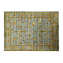 Manhattan Rugs - New Blue & Green Turkish Oushak 10'x14' Hand Knotted Floral Wool Area Rug H3828 - Oushak rugs originated in the small town of Oushak in west central Anatolia, roughly 100 miles south of the city of Istanbul in Turkey. Oushak has produced some of the most decorative Persian influenced rugs of all times. Oushak has been a production center of Turkish rugs since the 15th century. In the late 15th century the 'design revolution' took place. Before, producing carpets was part of the nomad culture, meeting people's daily needs, but for the first time the works of designing and weaving rugs were split in two. These Turkish rugs began to be produced commercially. From the 16th up to the 18th century the most famous manufacturers of ottoman times worked in Oushak. A special heirloom wash produces the subtle color variations that give rugs their distinctive antique look.