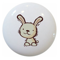 Carolina Hardware and Decor, LLC - Kid's Rabbit Ceramic Knob - New 1 1/2 inch ceramic cabinet, drawer, or furniture knob with mounting hardware included. Also works great in a bathroom or on bi-fold closet doors (may require longer screws). Item can be wiped clean with a soft damp cloth. Great addition and nice finishing touch to any room!