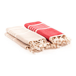 Indigo&Lavender - Turkish Hammam Hand Towels s/2, Beige and Red - Miniature Hammal Towels that will be perfect for the kitchen or as hand towels.