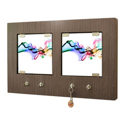 Ambiance Design - Fun and Modern Key Holder Wall Mount - Add function and flair to your entryway with this modern wall-mounted piece. It has eight hooks and two tempered glass doors to store your keys, plus a rich oak finish and cool abstract design to give your wall a dash of artistic edge.