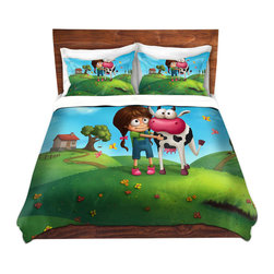 DiaNoche Designs - Duvet Cover Twill - My Moo - Lightweight and soft brushed twill Duvet Cover sizes Twin, Queen, King.  SHAMS NOT INCLUDED.  This duvet is designed to wash upon arrival for maximum softness.   Each duvet starts by looming the fabric and cutting to the size ordered.  The Image is printed and your Duvet Cover is meticulously sewn together with ties in each corner and a concealed zip closure.  All in the USA!!  Poly top with a Cotton Poly underside.  Dye Sublimation printing permanently adheres the ink to the material for long life and durability. Printed top, cream colored bottom, Machine Washable, Product may vary slightly from image.