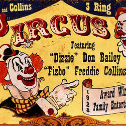 Red Horse Signs - Vintage Circus Sign Dizzie Clowns Nostalgic Advertisement Sign - Vintage  Circus  Sign  -  Dizzie  Clowns  Nostalgic  Circus  Advertisement  SignPersonalize  this  Dizzie  Clowns  sign  to  make  it  your  own  by  changing  the  name  of  the  circus  and  the  featured  clowns.  When  you  do    you'll  have  a  uniquely  vintage  sign  for  game  room  or  family  room.  Printed  directly  to  distressed  wood    this  sign  measures  14  x  26.