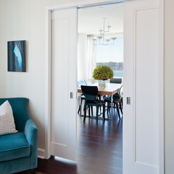Tivoli Pocket Doors - The 1 Panel Tivoli design, by Supa Doors, offers a nicely framed out look over the standard 1 panel designs on the market.   Used in single family homes, the doors are 86% recycled content, can be fire rated, can include glass or louvers, and carry a limited lifetime warranty (a rarity in wood doors).   The doors are made just outside San Antonio, TX, and ships nationally.   Since Supa Doors are BUILT TO ORDER, you do have flexibility in sizing, layout and profiles.   Visit www.supadoor.com for more details.