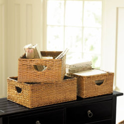 Set of 3 Rattan Baskets - Woven Storage Basket