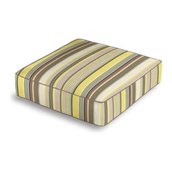 Purple & Green Modern Stripe Box Floor Pillow - Extra seating that is so good looking you won't want to store it away.  Our Box Floor Pillow is perfect for your next coffee table dinner party, fire place snuggle session, or playroom sleepover.  We love it in this red, orange, yellow & taupe multi stripe that feels modern with a need for speed.