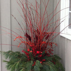 Our Winter Containers - Flame willow, pussy willow, eucalyptus, winterberry, pine and red accents in this Christmas urn designed by The Branch Ranch. Photography ©2013Jackie Stafford