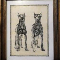 Double Dogs (Original) by Kellie Langewisch - This image is a print of an original etching I made of the anatomy of a dog. The background is filled with a soft creme color. Wooden frame included.