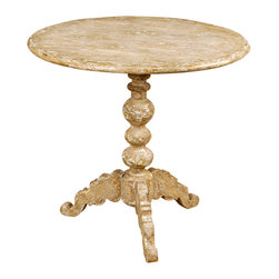 Rustic Pedestal Table - Light wood with rustic whitewash provides a natural grace to a French farmhouse or an urban loft.  Our Rustic Pedestal Table is a superb example of this staple of transitional design, crafted with a finely beveled edge and a lathe-turned pedestal that stacks rounded motifs for a classic beaded look on a larger-than-usual scale.  At the base of the pillar, three substantial scroll-cut feet balance the round table in perfect stability.