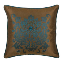 "Peacock Blue Brown Damask 18"" x 18"" Pillow  Set of 2 - *18"" x 18"" Pillow with Hidden Zipper"