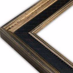 The Frame Guys - Manchester Flat Black Diamond with Champagne Lip Picture Frame-Solid Wood-8x8 - *Manchester Flat Black Diamond with Champagne Lip Picture Frame-Solid Wood-8x8