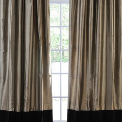 Banded Silver Grey Thai Silk With Kona Brown Velvet Curtain - The Banded Thai Silk with Velvet curtains & draped are the perfect combination of sophistication & style. The combination of Thai Silk and Kona Brown (espresso) Cotton Velvet can easily transition into any décor whether your home is classic & traditional or modern & contemporary.