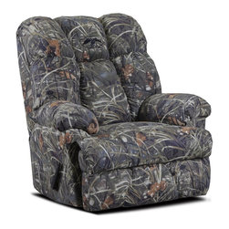 Chelsea Home - Real Tree Max 4 Twill Recliner - Pull bar reclining mechanism. Reinforced 16 gauge border wire. Engineered wood products. Double springs used on the ends nearest the arms. Hi-density foam cores. Seat cushion is attached. Seat back cushion is attached. Dacron polyester wrap. Seating comfort: Medium. Made from polyester blend and solid kiln dried hardwood. Made in USA. Assembly required. 42 in. L x 45 in. W x 47 in. H (110 lbs.)