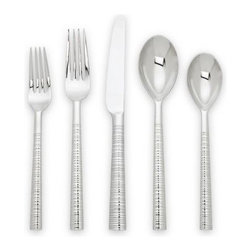 Tronada 5-piece Stainless Flatware Place Setting - The texture freak in me is intrigued by how the etchings on these handles would feel in my hand, and the aesthetics freak in me imagines how elegant this set would look next to clean white china.