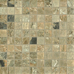 "Natural Slate - Autumn 1"" x 1"" Mosaic - Ceramic Tileworks - Natural Series, Color -Autumn"