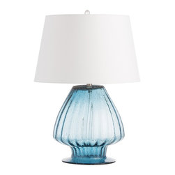 Arteriors - Herchel Lamp - This mouth blown fluted blue seeded glass lamp has an open base and a closed top. The white microfiber euro taper shade is lined in the same material.  Takes 1 - 150 w 3-way bulb.