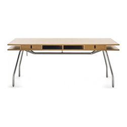 """Crassevig - DORDONI WORKTOP Desk 73"""", With 2 Drawers - The Worktop Table/Desk was designed by Rodolfo Dordoni in 1992. It has a satin chrome plated steel frame with adjustable clear plastic feet. The top is beech veneer with a natural stain and solid wood edges. Optional drawers also in natural beech with aluminum tray insert."""