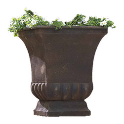 None - Large Rustic Metal Planter Urn - Accentuate a porch,garden or driveway with this classically designed metal planter urn. Weather resistant steel will last throughout many seasons.