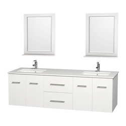 "Wyndham Collection - Centra 72"" White Double Vanity, White Man-Made Stone Top, Undermount Square Sink - Simplicity and elegance combine in the perfect lines of the Centra vanity by the Wyndham Collection. If cutting-edge contemporary design is your style then the Centra vanity is for you - modern, chic and built to last a lifetime. Available with green glass, pure white man-made stone, ivory marble or white carrera marble counters, with stunning vessel or undermount sink(s) and matching mirror(s). Featuring soft close door hinges, drawer glides, and meticulously finished with brushed chrome hardware. The attention to detail on this beautiful vanity is second to none."