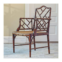Grayson Armchair, Brown - This Chinese Chippendale chair is a classic version and is available in brown, red and white. The brown is the perfect choice for a traditional home.