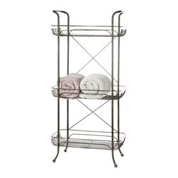 3-Tier Metal Bath Shelves - Organizing bath accoutrements isn't always a pretty affair. Make sure you're storing terrycloth, bottles, and grooming gear in style with the 3-Tier Metal Bath Shelves. Use the top handles as extra racks for hand towels, and make the 3-level system be the hardest working piece in your vintage bath.
