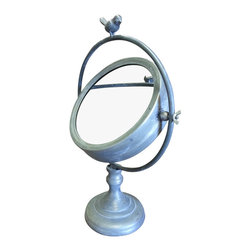 Round Tilting Metal Mirror on Stand w/Bird Finial - *** FREE SHIPPING !!! ***