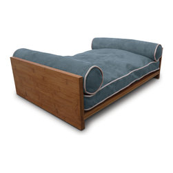 Pet Lounge Studios - Bambu Daybed, Blue, Small - Our Bambú Daybed is our most tranditional and luxurious design. Fit for the little kings and queens of the world! It is a true piece of furniture and will add warmth to the finest home interiors. It is created with rich, solid bamboo and contains shredded orthopedic memory foam along with two bolster pillows so your furry family member can comfortably rest their head over the side. The removable and washable cushion cover uses the highest quality ultra-suede fabric which is inherently stain resistant.