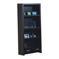 Monarch Specialties - Monarch Specialties I 7010 Cappuccino Hollow-Core 71 Inch Bookcase w/ Drawer - This contemporary bookcase offers combination storage for your home office. The sleek piece has clean lines, in a rich dark cappuccino finish that will complement your home decor. A small storage drawer below four shelves keep items organized and are ideal for books and your favorite decorative accent items. Cool contemporary metal handles create a bold contrast, for the perfect finishing touch on this storage unit. Bookcase (1)