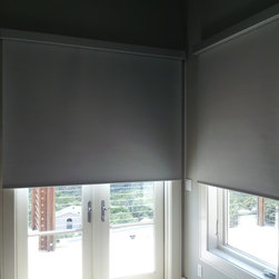 Black Out Rollers Shades - Battery powered, room darkening rollers shades with Fascia Valance.