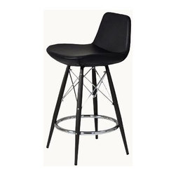 """sohoConcept - Pera Mw Stool (29 in. Dark Grey Wool Fabric) - Fabric: 29 in. Dark Grey Wool FabricStool is a unique stool with a comfortable upholstered seat. Backrest on a powder coated steel frame. Each leg is tipped with a plastic glide inserted to the foot. Chromed steel tubular footrests, it becomes an ideal solution for kitchen and bar counters. Footrests are fixed inside the four legs frame. Seat has a steel structure with """"S"""" shape springs for extra flexibility and strength. Steel frame molded by injecting polyurethane foam. Seat is upholstered with a removable velcro enclosed leather, PPM or wool fabric slip cover. Suitable for both residential and commercial use and can be ordered as counter or bar stool and upholsteries. Pictured in Black Leatherette. Counter Stool: 20.5 in. L x 18 in. W x 32 in. H, Seat Height: 24 in.. Bar Stool: 20.5 in. L x 18 in. W x 327.5 in. H, Seat Height: 29 in."""