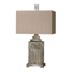 Uttermost Canino Mercury Glass Table Lamp - Ribbed mercury glass with brushed aluminum accents. Ribbed mercury glass with brushed aluminum accents. The rectangle hardback shade is a silken bronze linen fabric with natural slubbing.