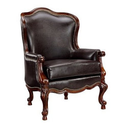 Stein World Library Chair - The elegant Queen Anne style of the Stein World Library Chair would look right at home in a personal library but will also make a great accent to your living room decor. Upholstered in a dark chocolate faux leather with a decorative nail head trim this beautiful chair has a carved base and legs to complete its graceful traditional look.About Stein WorldStein World is dedicated to discovering and bringing to the market place the finest hand-painted products from around the world. With over 50 years of experience they have been able to develop not only the resources but true partnerships with quality manufacturers and artisans who make Stein World unique in the furniture industry today. Their commitment to you is to present only the highest quality furniture at prices that bring future family heirlooms into everyone's price range.