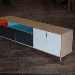 JB console - A custom media console by Kerf Design made with maple Europly (a birch core plywood available with maple or walnut veneer) and Abet Laminati laminate in white, charcoal grey, space blue, and poppy red