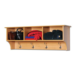 Prepac Cubbie Shelf in Maple - The Cubbie Shelf for Entryway in Maple is the perfect solution for any foyer or bedroom. It features stylish decorative touches like a profiled top, an arched apron and brushed metal hardware.