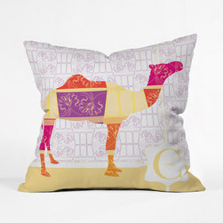 Calico Camel Throw Pillow - This ship of the desert is decked out in fine berry hues and intricate golden detailing. Brighten up your sofa with this cheerful fellow and his decidedly exciting inspirations.