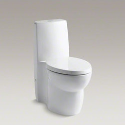 KOHLER - KOHLER Saile(R) skirted one-piece elongated dual-flush toilet with top actuator - Making a strong, contemporary statement, the slim tank of this Saile one-piece toilet drops seamlessly into a fully skirted bowl. Two top-mounted buttons offer the choice of .8 or 1.6 gallons per flush. At the lower .8 flush setting, this dual-flush high-efficiency toilet can save as much as 6,000 gallons of water annually over a traditional 1.6-gallon toilet. The skirted trapway creates a sleek look and makes for easier cleaning.