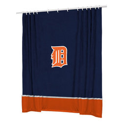 Sports Coverage - MLB Detroit Tigers Baseball Bathroom Accent Shower Curtain - Features: