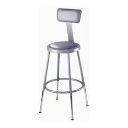 National Public Seating - Science Lab Stool w Padded Seat and Backrest - Adjustable padded seat. 16 rivets on seat to prevent warping. 0.63 in. O.D. foot rings welded to each leg by four contact points at each leg for added rigidity. Adjustable with vinyl padded backrest. Adjusts up or down and forward or back. Steel contains 30-40% of post-consumer waste (recycled). Meets ANSI and BIFMA standards. Warranty: Five years for material. Made from 0.88 in. O.D. 18-gauge steel tubing. Seat height: 19 - 27 in.. Backrest: 12 in. W x 6 in. H. Overall: 16.5 - 20.5 in. W x 32 - 41.5 in. H (17 lbs.)