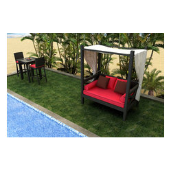 Barbados Outdoor Canopy Day Lounger, Ruby Cushions