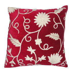Crewel Fabric World - Crewel Pillow Floral Vine White on Red Cotton Velvet 16x16 Inches - Hand embroidered with 100% wool on cotton base Backed in solid-color canvas * Insert is sold separately �ۢ Hidden zipper �ۢ Dry-clean Recommended. Machine Washable �ۢ Imported Handmade in Kashmir
