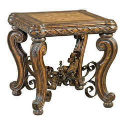 Ambella Home - Morales End Table - Don't be a square! This end table is the ideal shape for your formal home, whether you choose to use it to hold a table lamp, collectibles or stacks of books. Elegant carvings and a marquetry top add a refined finish.