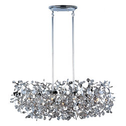 Joshua Marshal - Seven Light Polished Chrome Beveled Crystal Glass Island Light - Seven Light Polished Chrome Beveled Crystal Glass Island Light