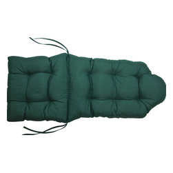 US Bedding - Hunter Green Scalloped Top Tufted Adirondack Cushion - All cushions are designed to fit most sizes of patio furniture and are filled with eco-friendly quick drying polyester fiber fill. Proudly Manufactured in the USA.