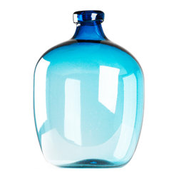 Kathy Kuo Home - Azure Beach Blue Large Glass Bulb Vase - As clear as the Mediterranean sky and relaxing as Caribbean water, this teal blue vase reveals just how powerful a single element of color can be for a room.  Whether alone of holding a floral piece, this vase evokes sea glass, and an effortless style perfect for beach homes, bedrooms and more.