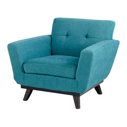 Cyan Design - Coastline Blues Chair - The Coastline Blues Chair is calm, cool, and collected. It's durable polyester fabric body sits atop a solid dark wood frame.  With this comfy design, the Coastline Blues Chair is the perfect reading chair. Group two for a set of occasional chairs in the living room or office. The Coastline Blues Chair is sure to be an unforgettable addition to your modern lounge area.