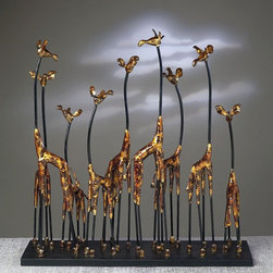 """Dessau Home - Giraffe Family Sculpture in Bronze - Made from iron. 28 in. L x 8 in. W x 26 in. HValue has always been an essential ingredient at Dessau Home. """"Essentials"""" represents a collection of well-appointed yet affordable home furnishings with a unique traditional styling that appeals to most transitional and contemporary home decorating needs."""