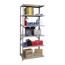 Hallowell - 87 in. High 6-Tier Medium-Duty Open Utility Shelving - Adder (48 in. W x 12 in. - Depth: 48 in. W x 12 in. D x 87 in. H. Transform a messy work area into an organized, orderly space with this durable open utility shelving, crafted of cold rolled steel in classic finish. With adjustable shelves and a braced back, the unit has an open side so it can be linked to coordinating units and is available in your choice of sizes. Great addition to Hi-Tech medium-duty open shelving starter unit. Open style with sway braces. 6 Adjustable shelves. Fabricated from cold rolled steel. Welds are spaced 3 in. on center to provide maximum strength. Sides are triple flanged to form a channel. All 4 corners are lapped and resistance welded to provide a rigid corner and add extra strength to the shelf. Tubular front edge is designed to protect against impact loads. 48 in. W x 12 in. D x 87 in. H. 48 in. W x 18 in. D x 87 in. H. 48 in. W x 24 in. D x 87 in. H. Assembly required. 1-Year warranty