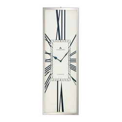 """Benzara - The Slim Stainless Steel Wall Clock - Are you looking for a wall clock that has a tall and statuesque shape? Looking for a wall clock that is most elegant to look at? Well, search no more because this stainless steel wall clock has all those qualities. In what is a frame that is much taller than it is wide, this wall clock comes with a white dial. With roman numerals for digits this clock alludes to a traditional look. In fact it is a perfect fusion of the old and the new. Additionally, this wall clock has been made using quality materials; this ensures that it will stand the test of time showing you an accurate time day in day out. It will be perfect for spots where there is less wall space. Indeed, this is the wall clock with the difference. So consider getting it today. Stainless steel wall clock dimensions: 8 inches (W) x 2 inches (D) x 24 inches (H); Wall clock color: White dial, Silver frame; Made from: Stainless steel; Dimensions: 14""""L x 14""""W x 30""""H"""