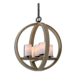 Uttermost - Gironico Round Pendant - Get the romantic look of candlelight without the hassle of melted wax. The cluster of five faux candles softens the slightly rustic rope detailing of this beautifully. Hang it in your entryway or dining room for an eclectic and original design statement.